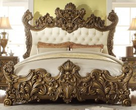Traditional Luxury HD-8008 California King Bed in Beige by Homey Design