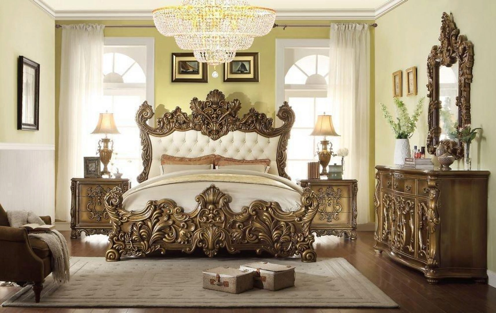 Traditional HD-8008 California King Bedroom 5Pcs in Beige by Homey Design