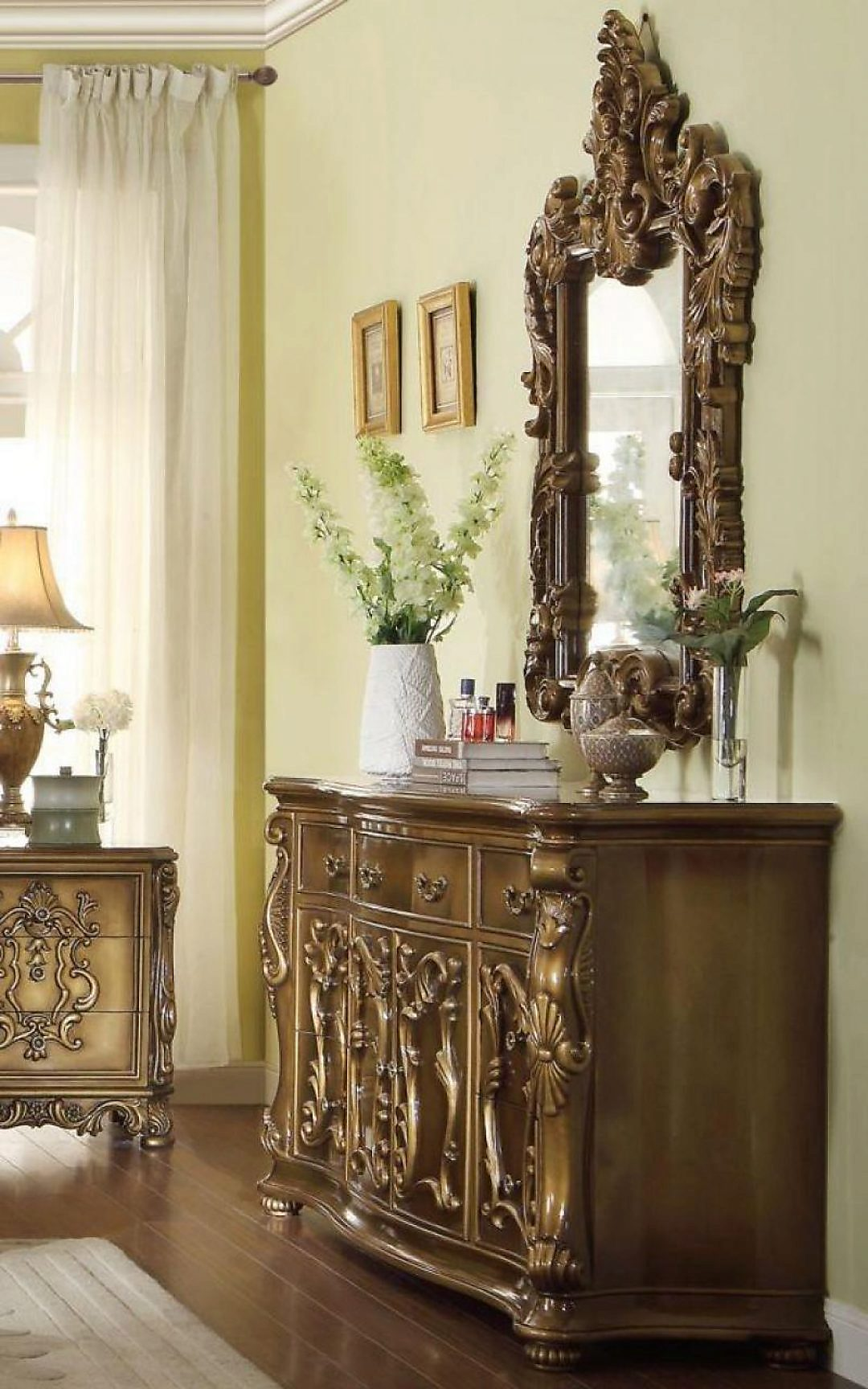 Traditional Luxury HD-8008-DM Gilded Dresser in Golden Brown by Homey Design
