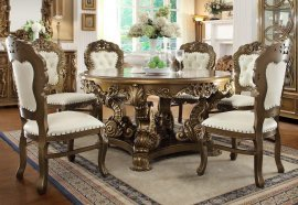 Traditional Luxury HD-8008-DT Gilded Dining Table Set 7 Pcs by Homey Design