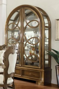 Traditional Luxury Gold HD-8008-H China Cabinet by Homey Design