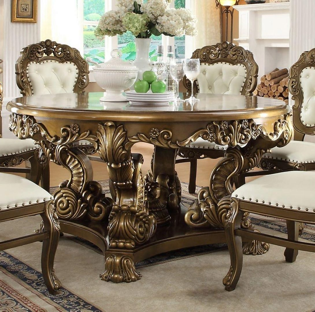 Traditional Luxury Gold HD-8008-T Dining Table by Homey Design
