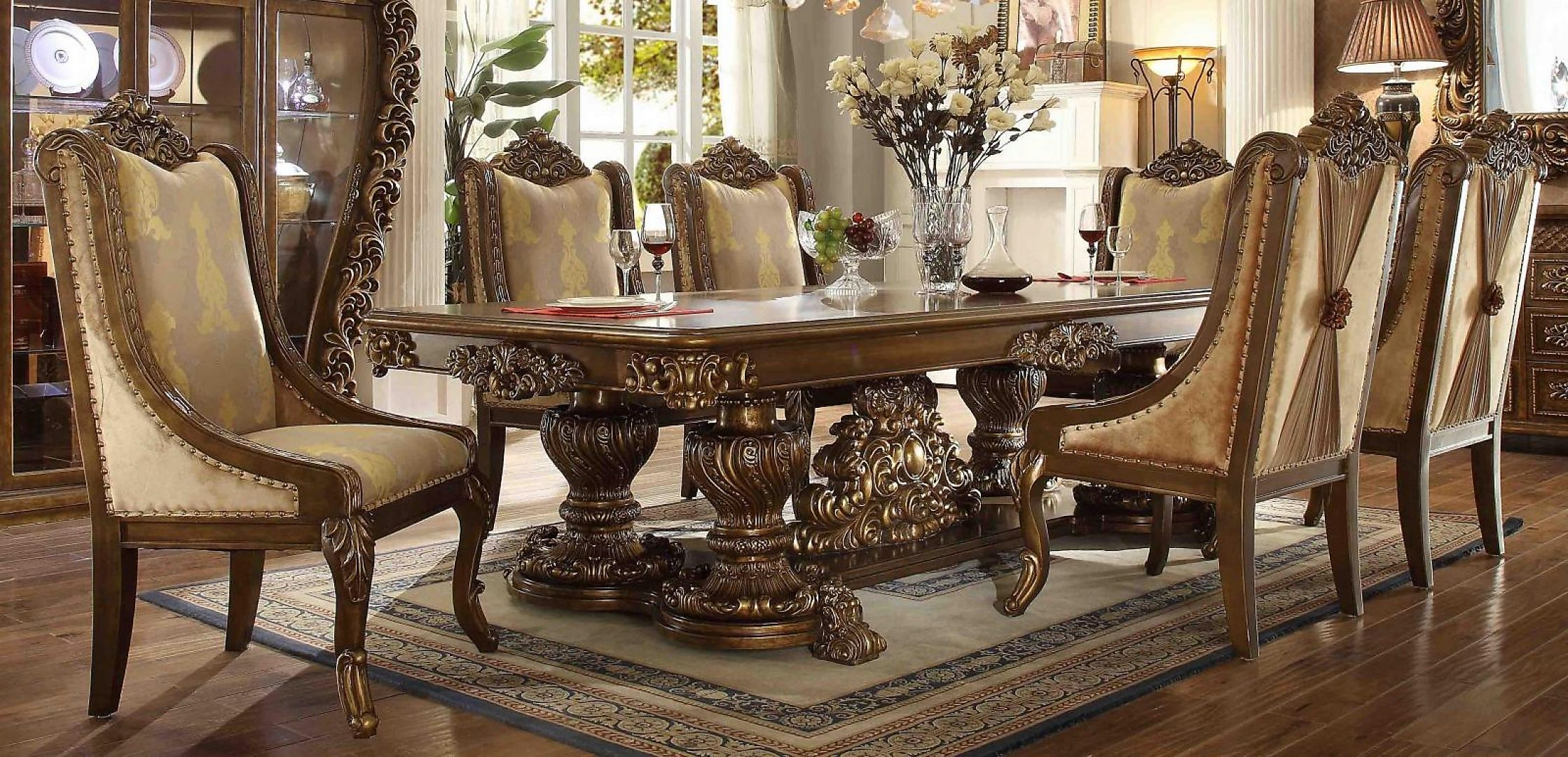 Traditional Rich HD-8011-DS Dining Table Set 7 Pcs by Homey Design
