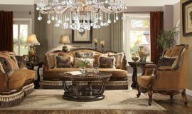 Traditional Luxury HD-9344-L Loveseat in Warm Brown by Homey Design