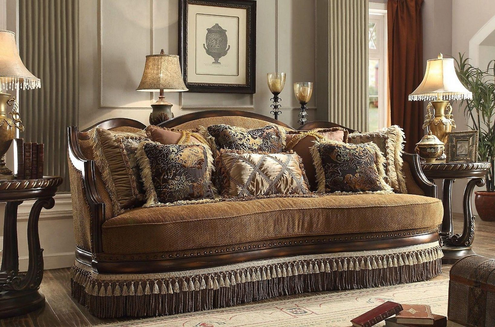 Traditional Luxury HD-9344-S Sofa in Warm Brown by Homey Design