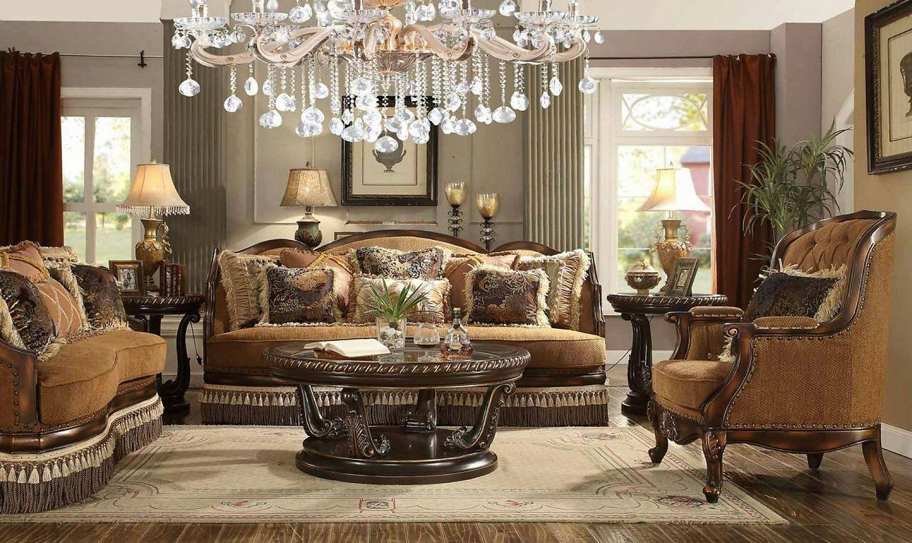 Traditional HD-9344-SLC Sofa Loveseat and Chair Set 3Pcs by Homey Design