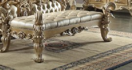 Traditional Gold Ornately HD-7012 Bench in Beige by Homey Design