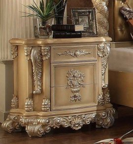 Traditional Victorian HD-7266 Nightstand in Gold by Homey Design