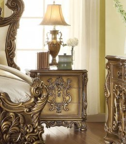 Traditional Luxury Gold HD-8008 Nightstand in Brown by Homey Design