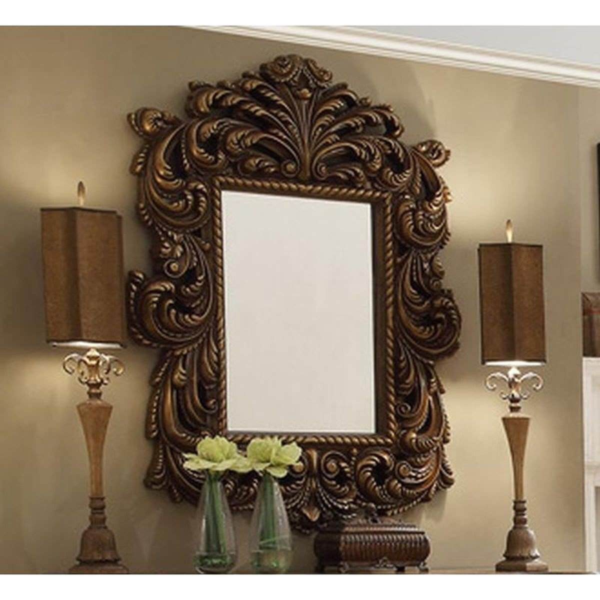 Traditional Rich HD-8011 Mirror in Brown by Homey Design