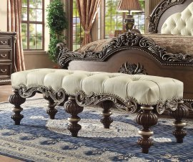 Traditional Classic HD-8013 Silvered Bench in Brown by Homey Design