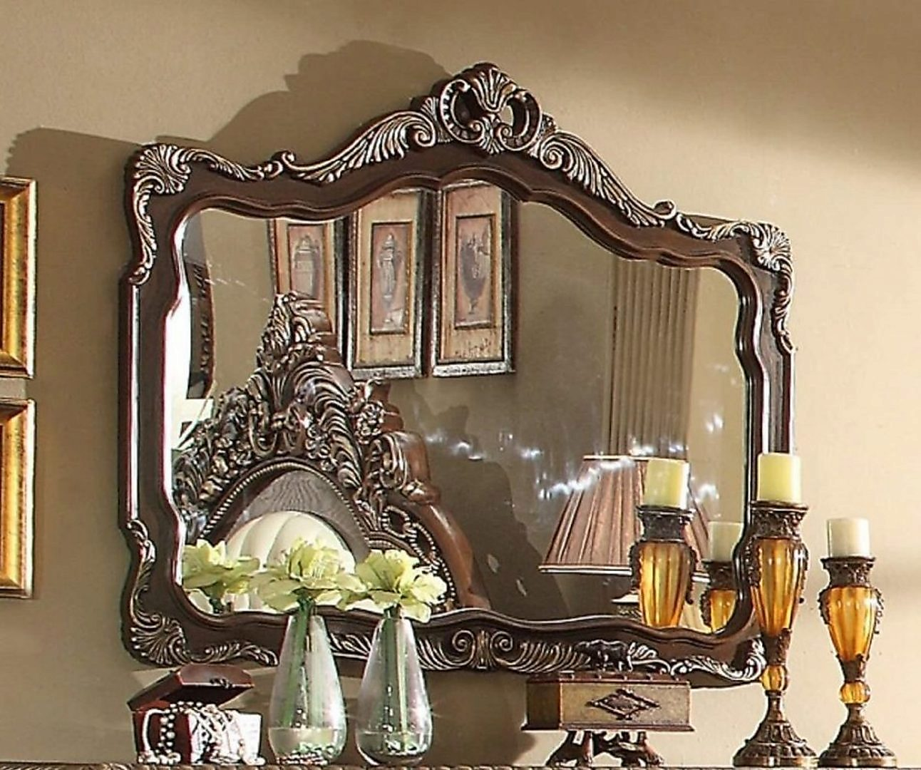 Traditional Classic Cherry HD-8013 Mirror by Homey Design