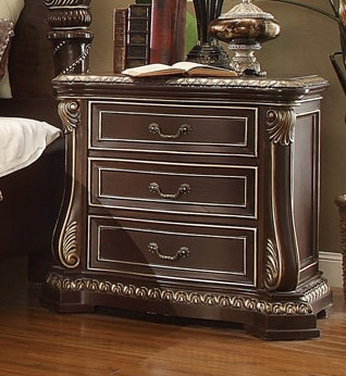 Traditional Classic Cherry HD-8013 Nightstand by Homey Design