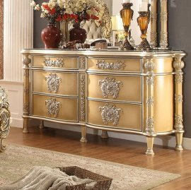 Traditional Classic Ivory HD-8015 Dresser in Gold by Homey Design