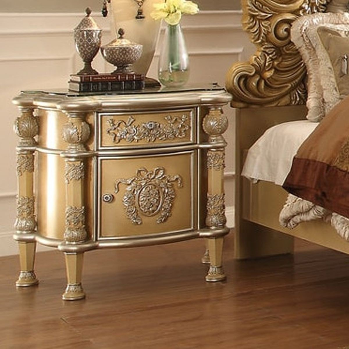 Traditional Classic HD-8015 Gilded Nightstand by Homey Design