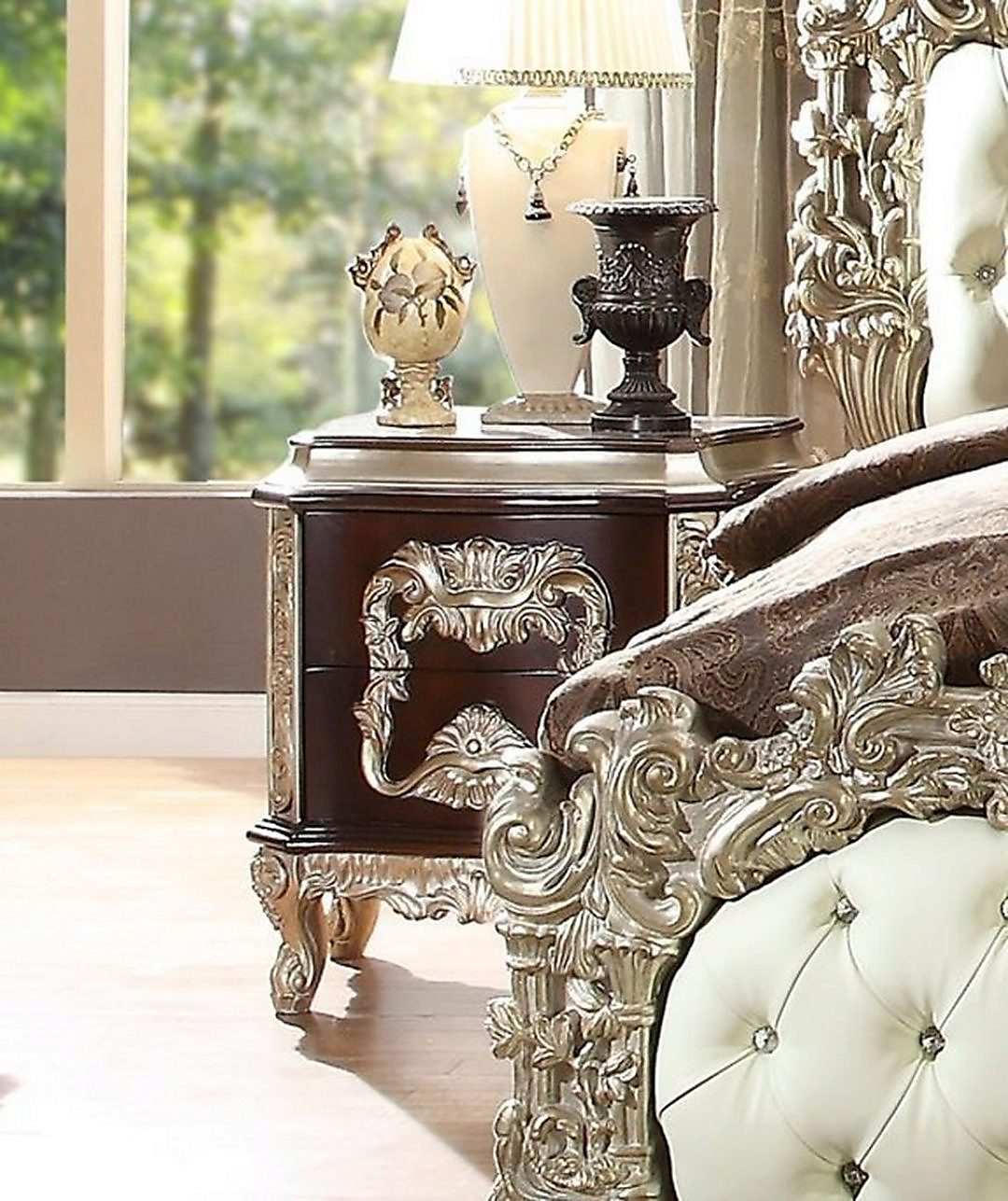 Traditional Royal HD-8017 Gilded Nightstand in Brown by Homey Design