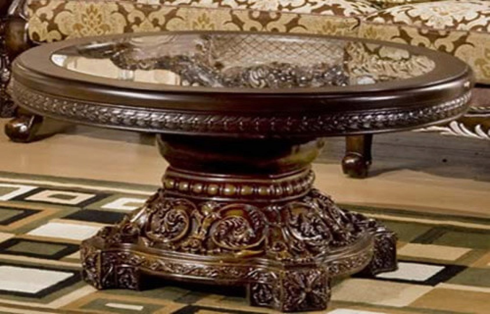 Traditional Luxury HD-1100 Coffee Table in Brown by Homey Design