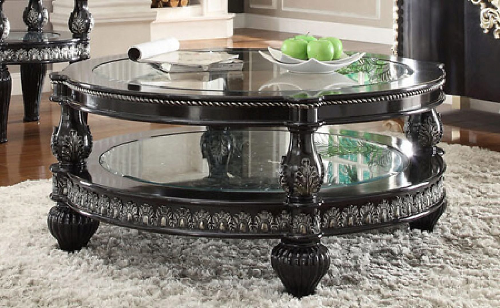 Traditional Classic HD-1208 Silvered Coffee Table in Black by Homey Design