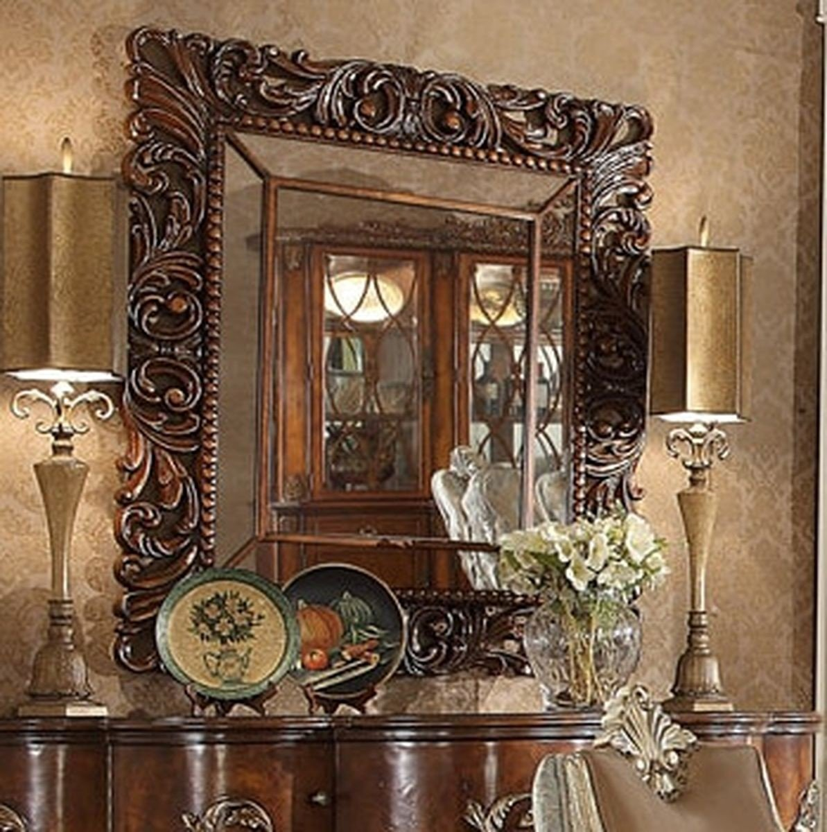 Traditional Luxury Champagne HD-124 Mirror in Brown by Homey Design