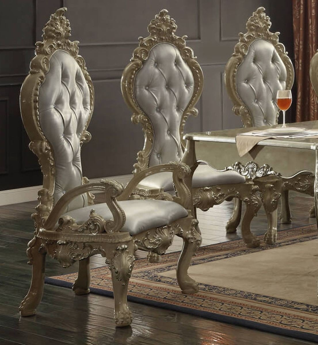 Traditional Elegant French HD-13012 Arm Chair in Gold by Homey Design