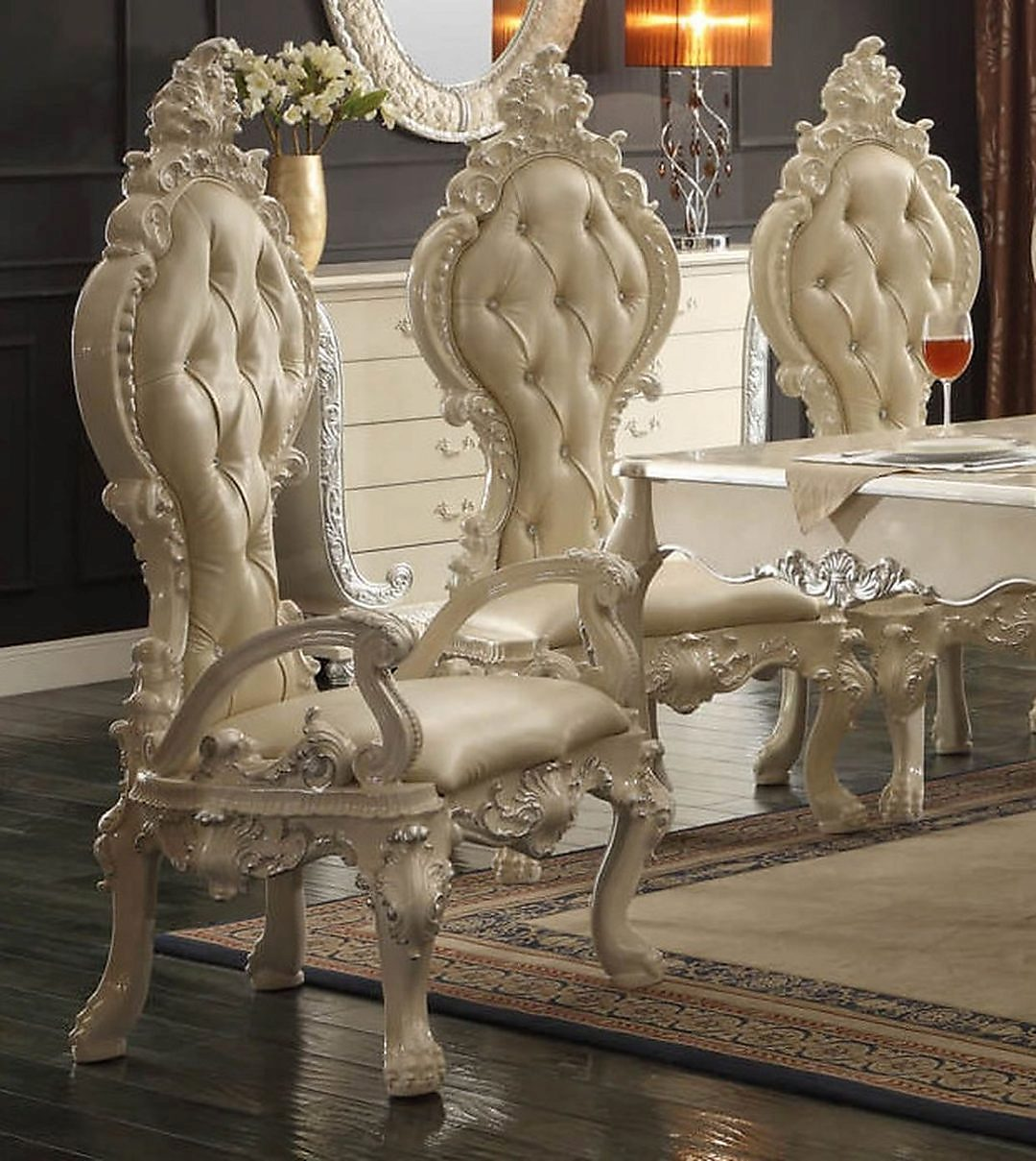 Traditional Elegant French HD-13012 Arm Chair in Ivory by Homey Design