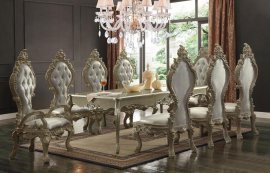 Traditional Elegant HD-13012 Dining Table in Gold by Homey Design