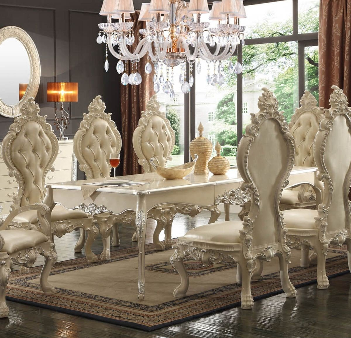 Traditional Elegant HD-13012 Dining Table in Ivory by Homey Design