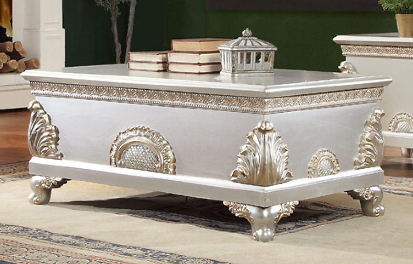 Traditional Antique HD-1332 Gilded Coffee Table in White by Homey Design