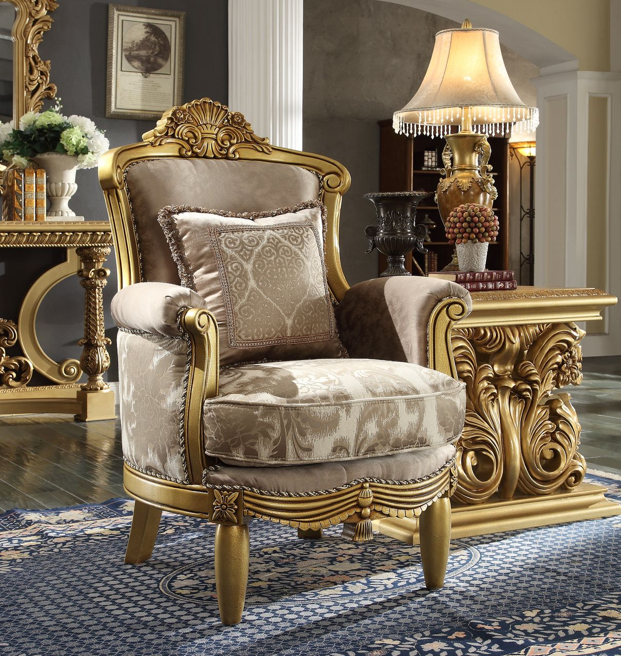 Traditional Victorian HD-1634 Gilded Chair in Beige by Homey Design
