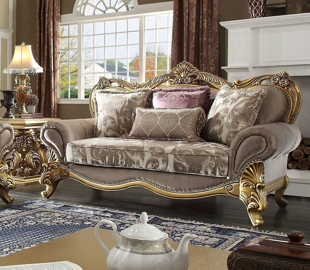 Traditional Victorian HD-1634 Gilded Loveseat in Gray by Homey Design