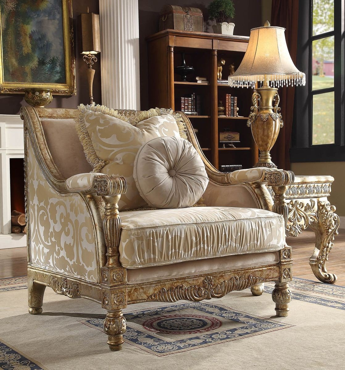 Traditional Antique Hd-205 Gilded Chair in Beige by Homey Design