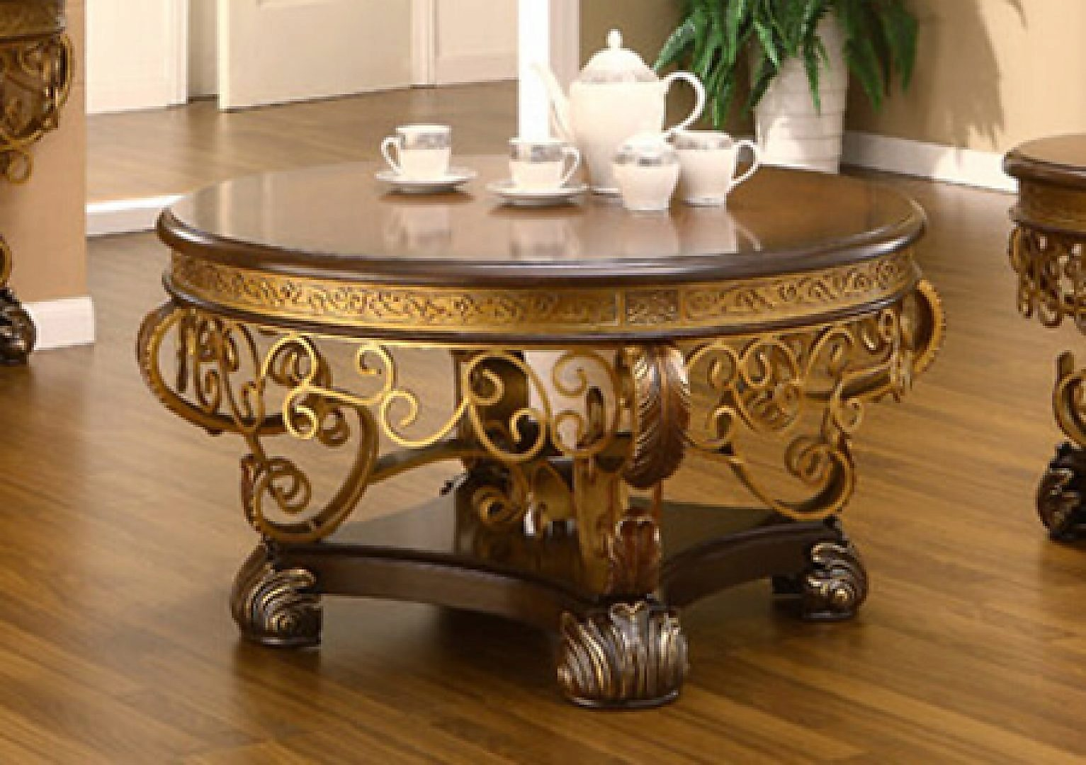 Traditional Royal HD-2112 Gilded Coffee Table in Brown by Homey Design