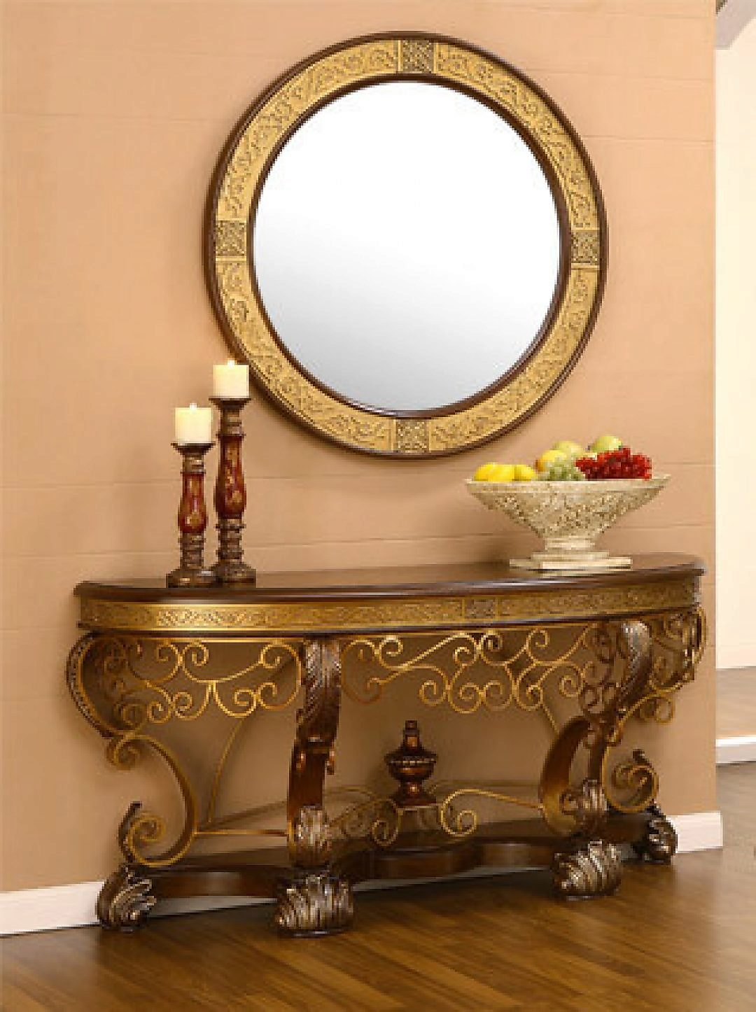 Traditional HD-2112 Gilded Console Table in Brown by Homey Design