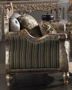 Traditional Carved HD-287 Gilded Chair in Gray by Homey Design