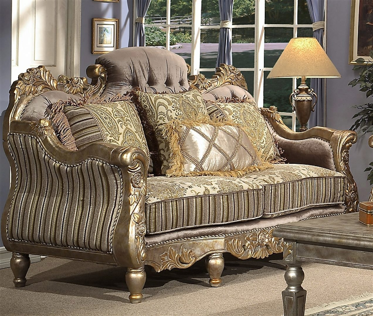 Traditional Carved HD-287 Loveseat in Gold by Homey Design