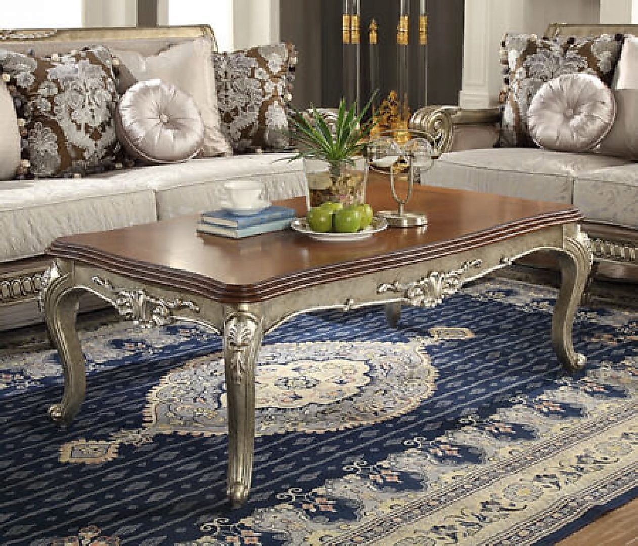 Traditional Luxury HD-303 Gilded Coffee Table in Beige by Homey Design
