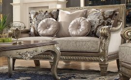 Traditional Luxury HD-303 Gilded Loveseat in Gray by Homey Design