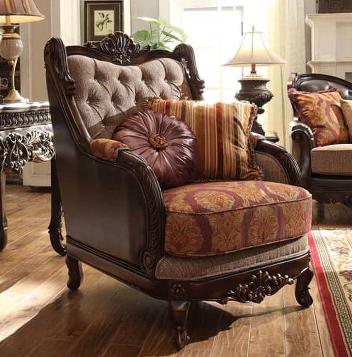 Traditional Carved HD-3630 Chair in Brown by Homey Design