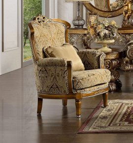 Traditional Carved HD-369 Gilded Chair in Beige by Homey Design