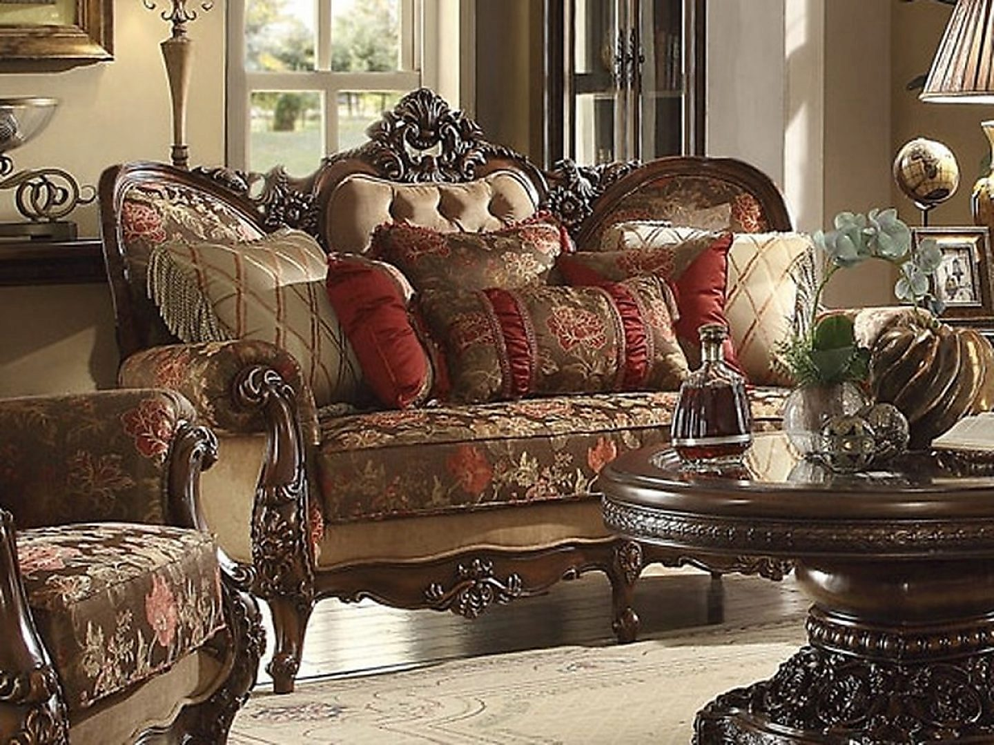 Traditional Victorian HD-39 Loveseat in Brown by Homey Design