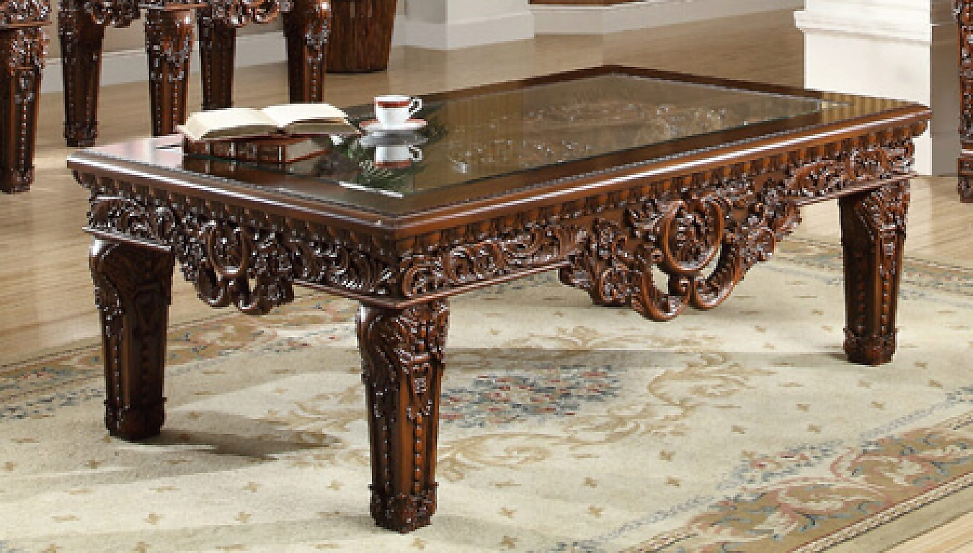 Traditional Royal HD-430 Coffee Table in Brown by Homey Design