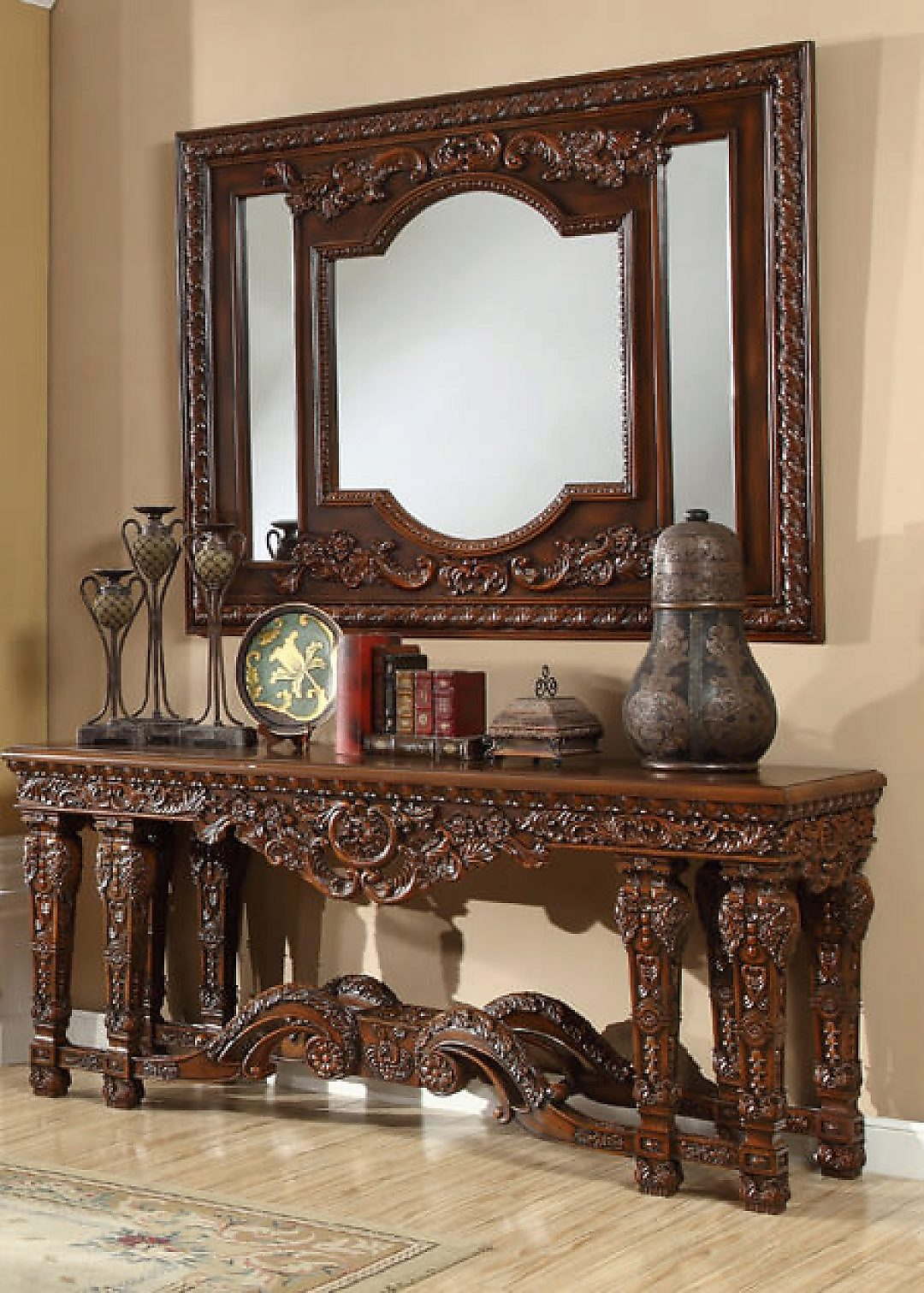 Traditional Luxury HD-430 Console Table in Brown by Homey Design