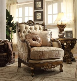 Traditional Luxury HD-506 Gilded Chair in Brown by Homey Design