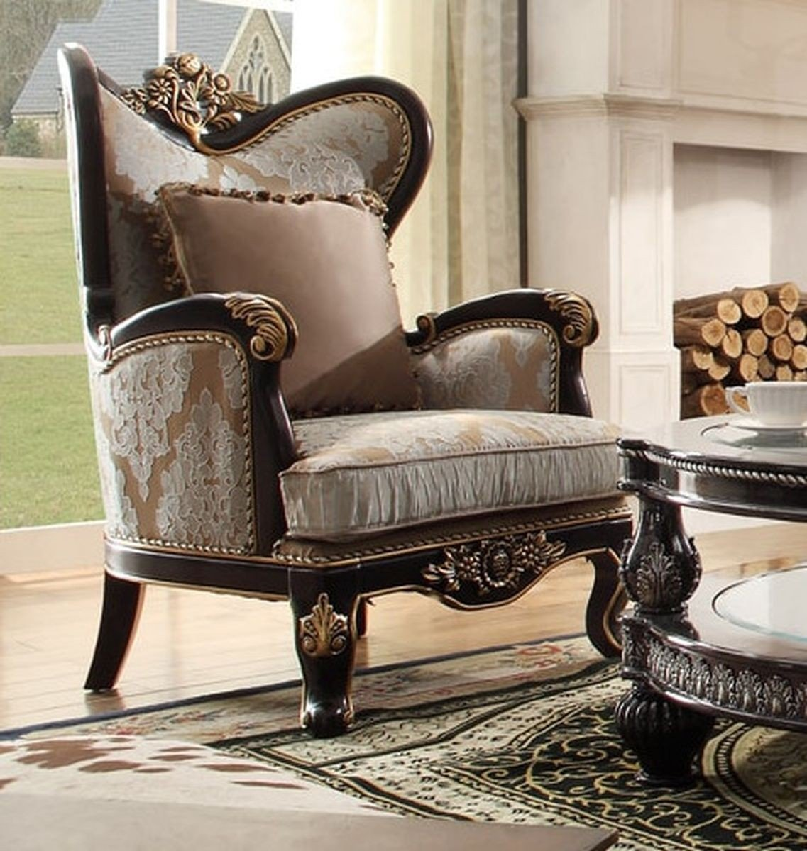 Traditional Victorian Luxury HD-551 Gilded Chair in Brown by Homey Design