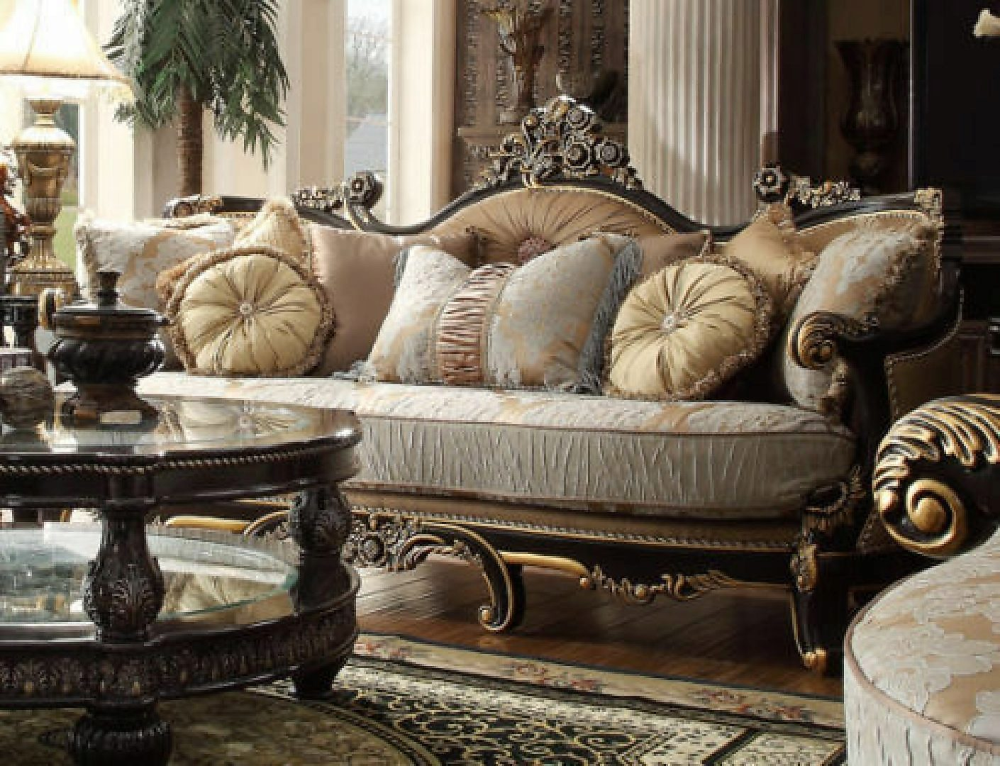 Traditional Victorian HD-551 Gilded Loveseat in Brown by Homey Design