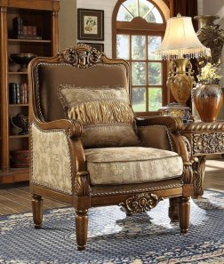 Traditional Luxury HD-610 Gilded Chair in Beige by Homey Design