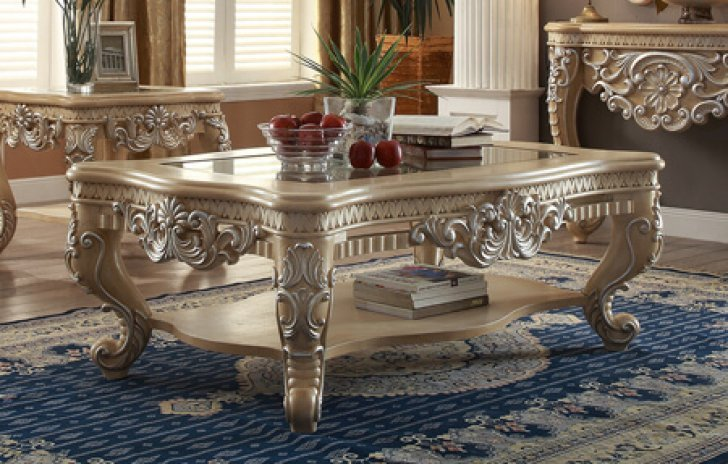 Traditional Victorian HD 7266 Silvered Coffee Table In Beige By Homey Design