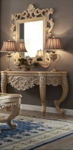 Traditional Victorian HD-7266 Silvered Console Table in Gold by Homey Design