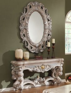Traditional Luxury HD-8001 Console Table in Ivory by Homey Design