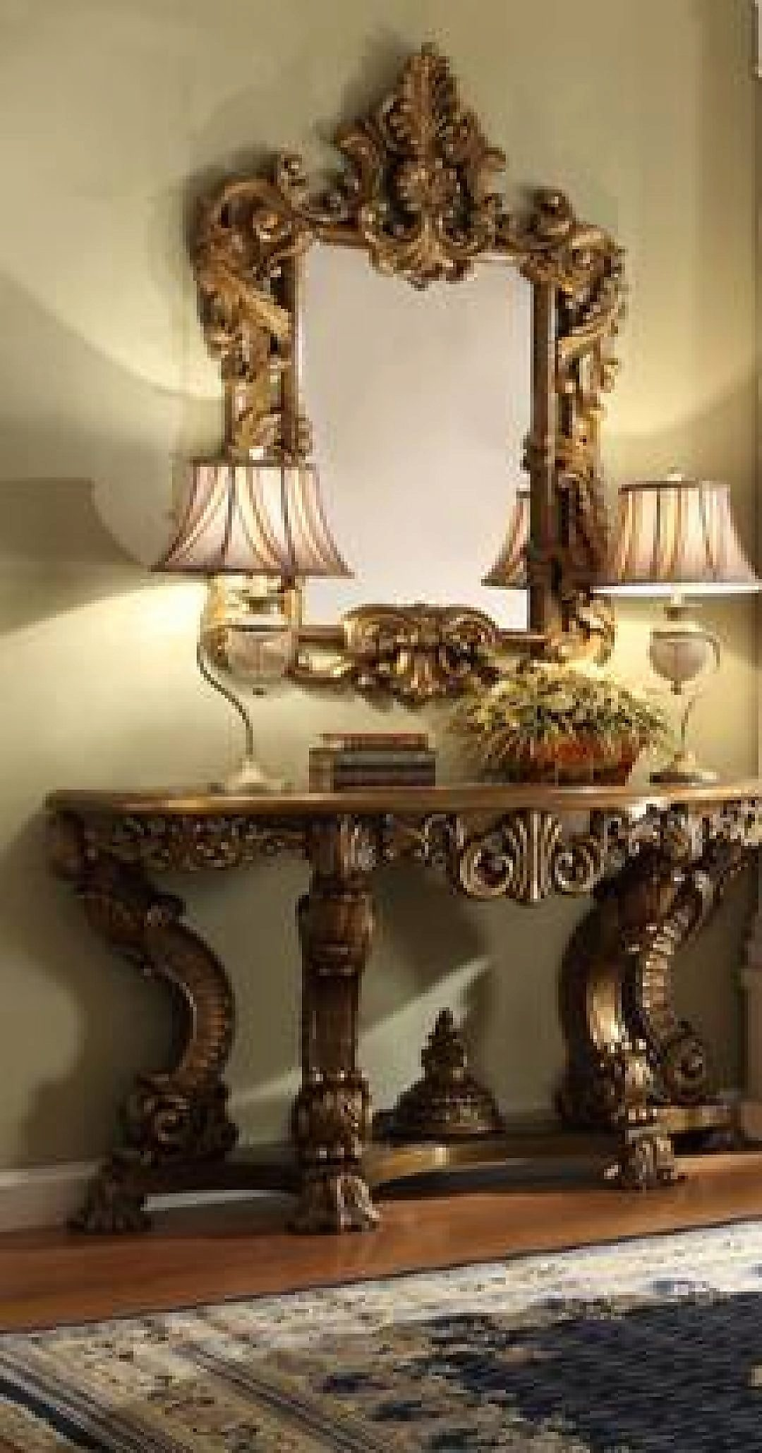 Traditional Luxury HD-8008 Console Table in Brown by Homey Design